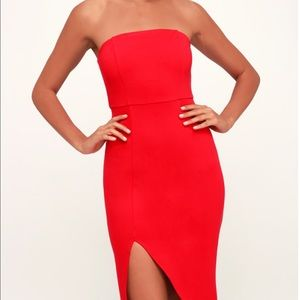 Lulu's Red Strapless Bodycon Dress